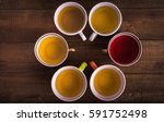 cups of tea on the wooden... | Shutterstock . vector #591752498