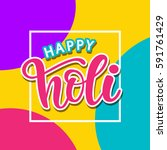 happy holi poster with hand... | Shutterstock .eps vector #591761429