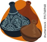 tagine. big and small clay pots ... | Shutterstock .eps vector #591768968