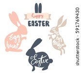 Cute Easter Rabbits Set With...