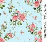seamless watercolor pattern... | Shutterstock . vector #591776396