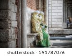 carnival in venice two typical... | Shutterstock . vector #591787076