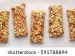 homemade granola bars on white... | Shutterstock . vector #591788894