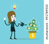 businesswoman watering money... | Shutterstock .eps vector #591789533