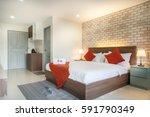 Stock photo bedroom hotel 591790349