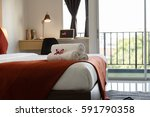 bedroom hotel | Shutterstock . vector #591790358