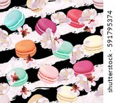 realistic macaroons colorful... | Shutterstock . vector #591795374