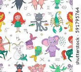 funny seamless pattern with... | Shutterstock .eps vector #591795764