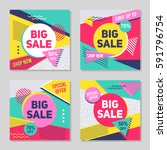 set of colorful trendy sale...   Shutterstock .eps vector #591796754