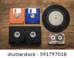 plate  videocassette  compact... | Shutterstock . vector #591797018