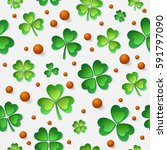 pattern with paper green four... | Shutterstock .eps vector #591797090