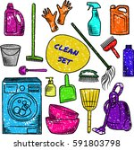 household cleaning supplies.... | Shutterstock .eps vector #591803798