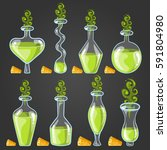set bottles of potion with...