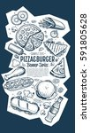cafe bar fast food symbols... | Shutterstock . vector #591805628