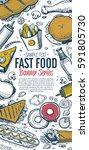 fast food vertical banner.... | Shutterstock . vector #591805730