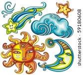 vector set of celestial symbols ... | Shutterstock .eps vector #59180608