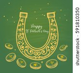 colored card st. patrick drawn... | Shutterstock .eps vector #591810350