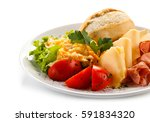 breakfast   fried egg  ham  and ... | Shutterstock . vector #591834320
