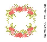 cute and romantic floral wreath ... | Shutterstock .eps vector #591836000