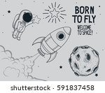 born to fly.hand drawn vector... | Shutterstock .eps vector #591837458