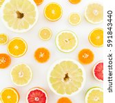 Citrus Fruits Pattern Of Lemon...