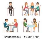 people in restaurant. isolated... | Shutterstock .eps vector #591847784