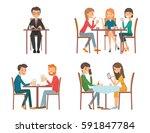 people in restaurant. isolated... | Shutterstock .eps vector #591847784