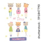 my little fashionista. t shirt... | Shutterstock .eps vector #591847790