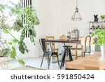 bright dining room with table ... | Shutterstock . vector #591850424