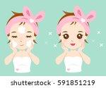 skincare girl. washing face. | Shutterstock .eps vector #591851219
