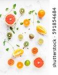 colorful fresh fruit on white...   Shutterstock . vector #591854684