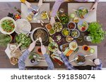 green healthy vegetarian food... | Shutterstock . vector #591858074