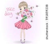 hand drawn beautiful cute girl... | Shutterstock .eps vector #591859238