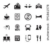 airport icons set. black on a... | Shutterstock .eps vector #591861578