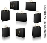 Black shopping bags vector set - stock vector