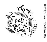 hand drawn ink summer design... | Shutterstock .eps vector #591866288