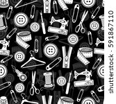 sewing tools seamless pattern ... | Shutterstock .eps vector #591867110