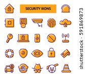 security icons set. vector flat ...   Shutterstock .eps vector #591869873