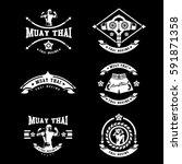 muay thai club vintage emblem ... | Shutterstock .eps vector #591871358