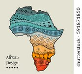 textured vector map of africa.... | Shutterstock .eps vector #591871850