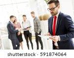businessman working on digital... | Shutterstock . vector #591874064