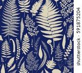 seamless pattern. ferns.... | Shutterstock .eps vector #591875204