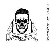 vector barbershop emblem ... | Shutterstock .eps vector #591880370