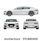 Stock vector modern car vector template white business sedan isolated on white background side front and rear 591880400