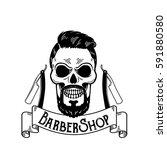 vector barbershop emblem ... | Shutterstock .eps vector #591880580