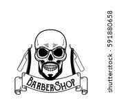 vector barbershop emblem ... | Shutterstock .eps vector #591880658
