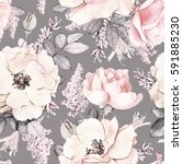 Stock photo seamless pattern with pink flowers and leaves on gray background watercolor floral pattern flower 591885230