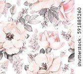 Stock photo seamless pattern with pink flowers and leaves on white background watercolor floral pattern 591885260