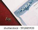 american visa and passport.... | Shutterstock . vector #591885920
