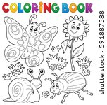 coloring book with small... | Shutterstock .eps vector #591887588